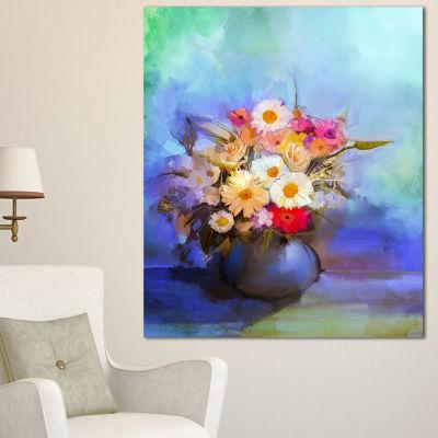 Designart Beautiful Flowers Bouquet On Blue LargeFloral Canvas Artwork 3 Panels