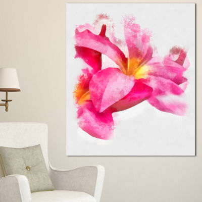 Designart Beautiful Flowers With Big Pink PetalsFloral Canvas Art Print 3 Panels