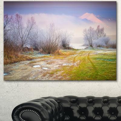 Designart Beautiful Foggy Autumn Sunset Large Landscape Canvas Art Print