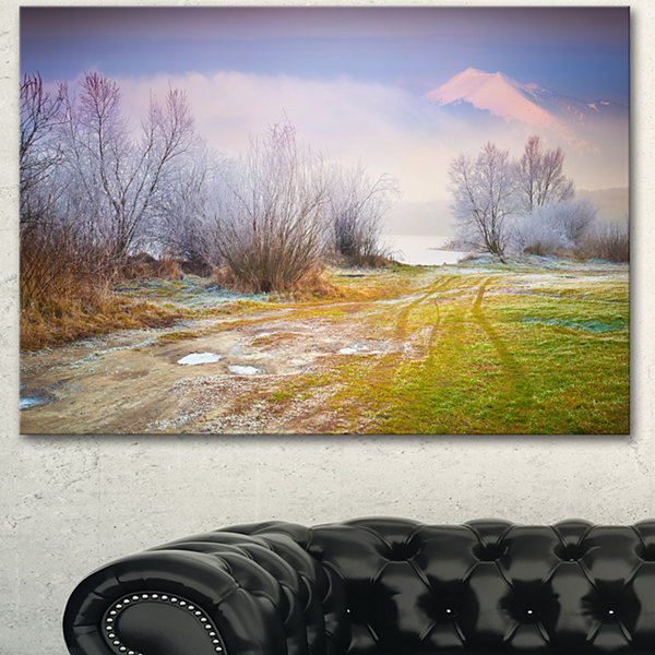 Designart Beautiful Foggy Autumn Sunset Large Landscape Canvas Art Print 3 Panels