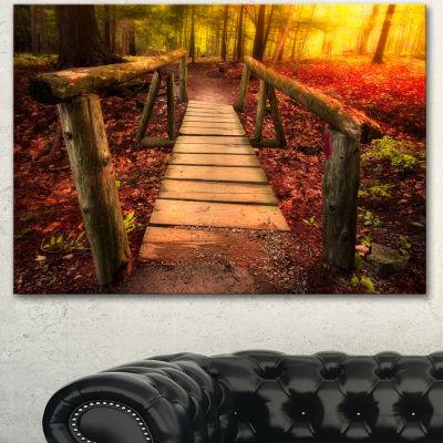 Designart Beautiful Footbridge In Golden Light Bridge Canvas Art Print  3 Panels