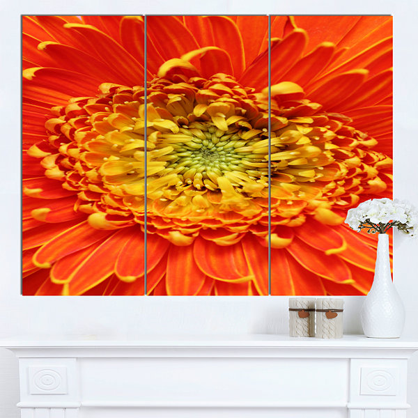 Designart Beautiful Gerbera Flower In Brig FloralCanvas Art Print 3 Panels