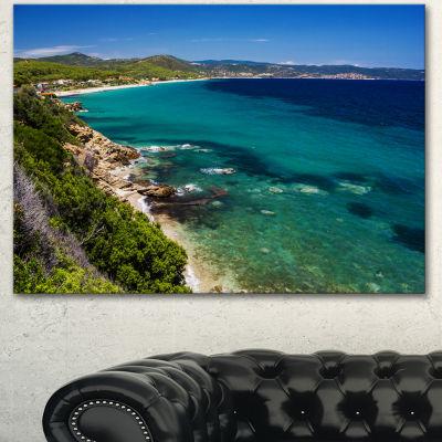 Designart Beautiful Greek Beach Of Sea Seashore Canvas Art Print 3 Panels