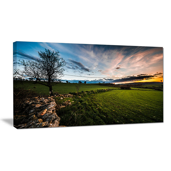 Design Art Beautiful Green Meadow In Sardinia Landscape Canvas Art Print