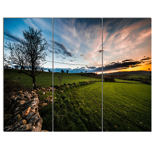 Design Art Beautiful Green Meadow In Sardinia Landscape Canvas Art Print 3 Panels