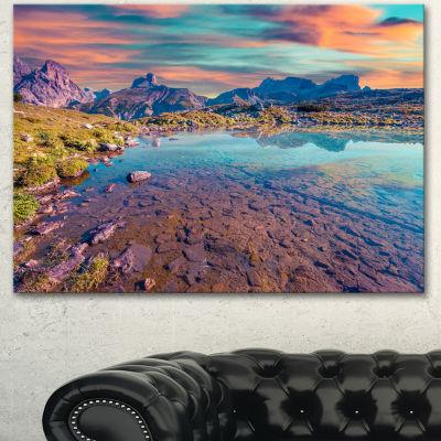 Designart Beautiful Lake In Lago Rienza Seashore Canvas Art Print