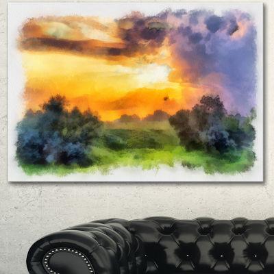 Design Art Beautiful Landscape Watercolor Landscape Canvas Wall Art