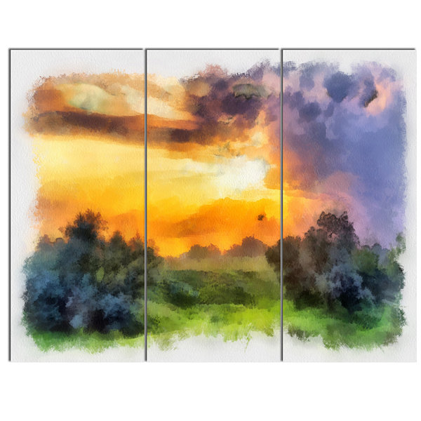 Designart Beautiful Landscape Watercolor LandscapeCanvas Wall Art 3 Panels