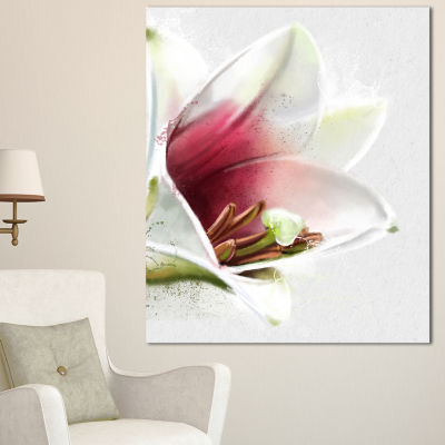 Designart Beautiful Lily Flower Watercolor FlowersCanvas Wall Artwork