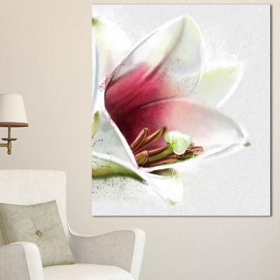 Designart Beautiful Lily Flower Watercolor FlowersCanvas Wall Artwork  3 Panels