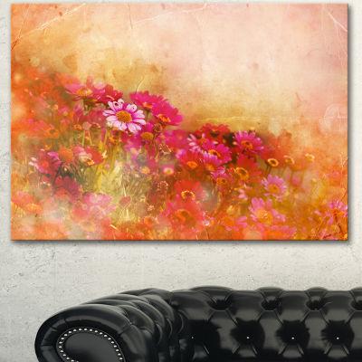Designart Beautiful Little Flowers In Spring LargeFloral Canvas Artwork 3 Panels