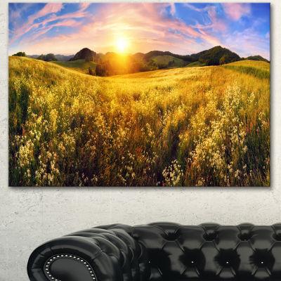 Designart Beautiful Meadow Panorama Landscape Canvas Art Print 3 Panels