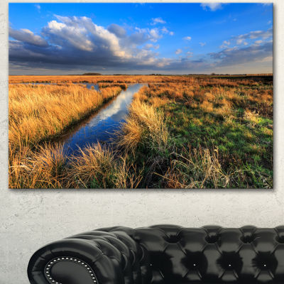 Designart Beautiful Meadow With Blue Sky LandscapeCanvas Art Print 3 Panels