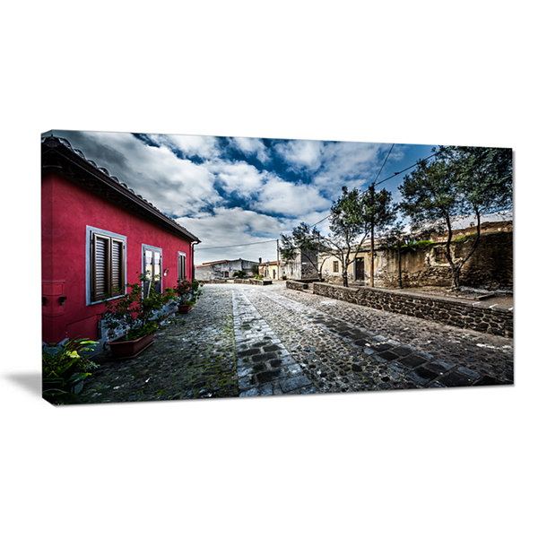 Designart Beautiful Milis Street Sardinia Landscape Canvas Art Print
