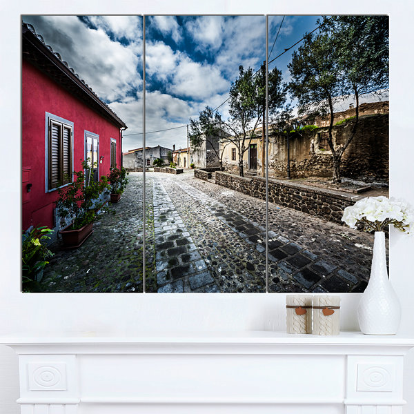 Designart Beautiful Milis Street Sardinia Landscape Canvas Art Print 3 Panels