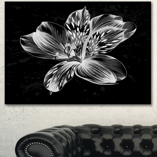 Designart Beautiful Monochrome Alstroemeria FlowerExtra Large Floral Wall Art