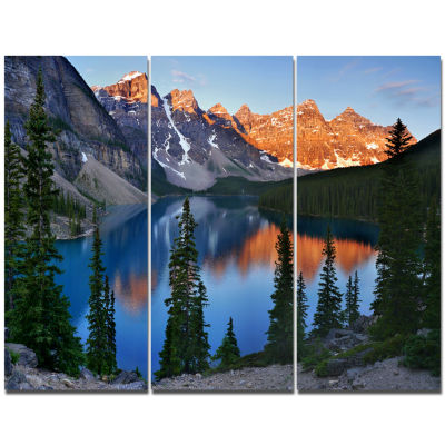 Design Art Beautiful Moraine Lake Canada LandscapeCanvas Art Print 3 Panels