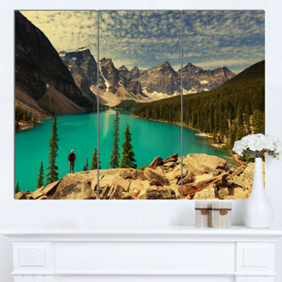 Designart Beautiful Moraine Mountain Lake Large Landscape Canvas Art 3 Panels