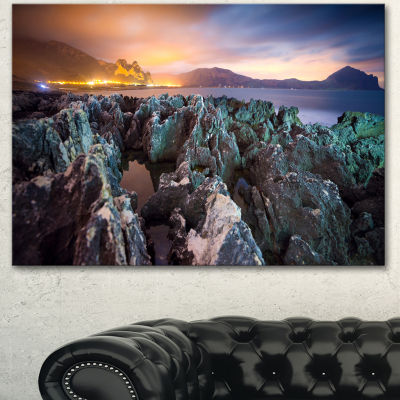 Designart Beautiful Night View Of Coast LandscapeCanvas Art Print