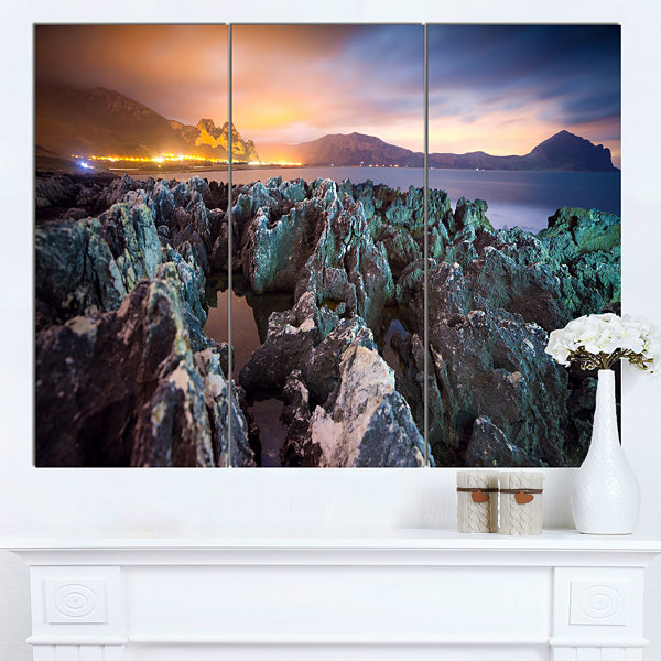 Design Art Beautiful Night View Of Coast LandscapeCanvas Art Print 3 Panels