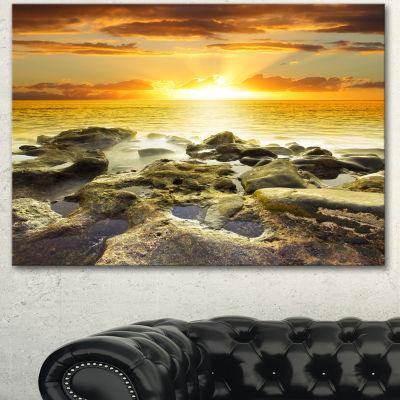 Designart Beautiful Orange Sundown Beach SeashoreCanvas Art Print 3 Panels