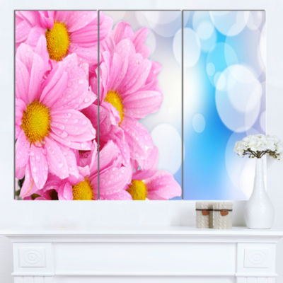 Designart Beautiful Pink Flower Bouquet Large Floral Canvas Artwork  3 Panels