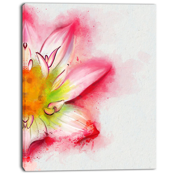 Design Art Beautiful Pink Flower Painting Large Floral Canvas Artwork