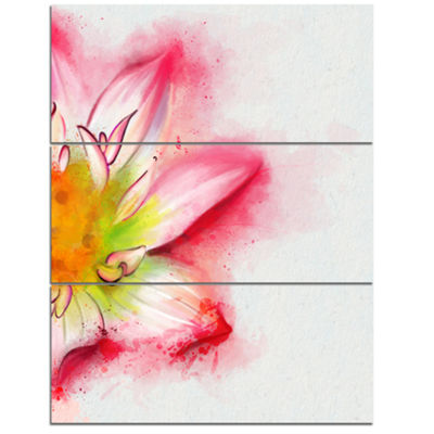 Designart Beautiful Pink Flower Painting Large Floral Canvas Artwork 3 Panels