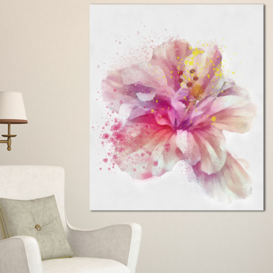 Designart Beautiful Pink Flower Watercolor FloralCanvas Art Print