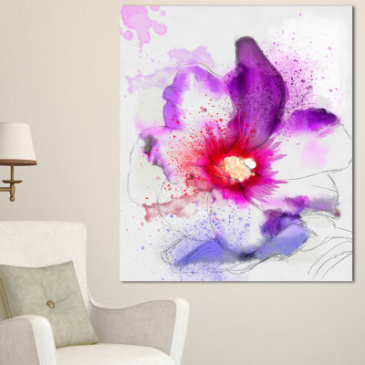 Designart Beautiful Pink Flower Watercolor LargeFloral Canvas Art Print
