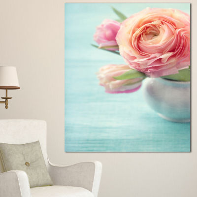 Designart Beautiful Pink Flowers In Vase Floral Canvas Art Print 3 Panels