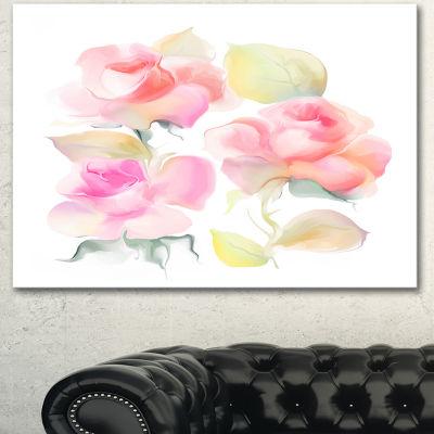 Designart Beautiful Pink Rose Flowers Large AnimalCanvas Art Print 3 Panels