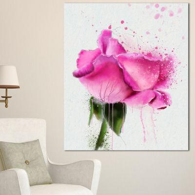 Designart Beautiful Pink Rose Watercolor Floral Canvas Art Print