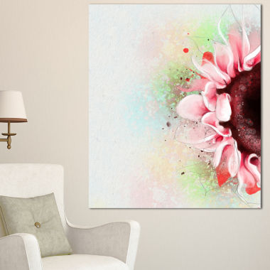 Design Art Beautiful Pink Sunflower Watercolor Flowers Canvas Wall Artwork