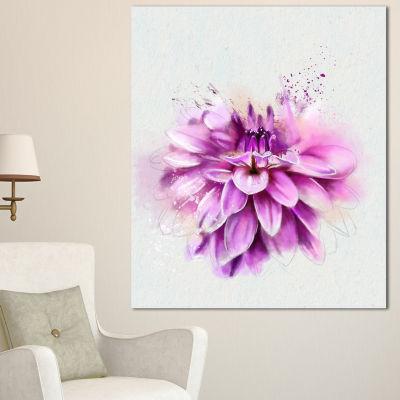 Designart Beautiful Pink Watercolor Flower FloralCanvas Art Print