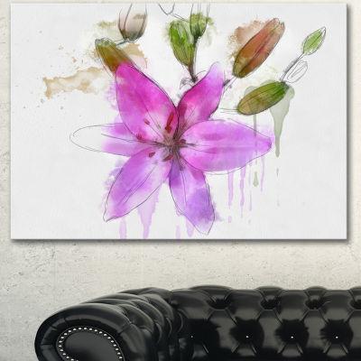 Designart Beautiful Purple Floral Illustration Floral Canvas Art Print 3 Panels