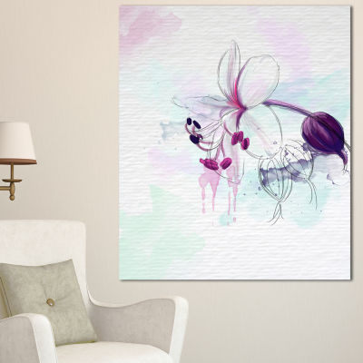 Designart Beautiful Purple Flower With Splashes Large Floral Canvas Artwork