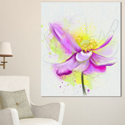 Designart Beautiful Purple Flower With Yellow Flowers Canvas Wall Artwork