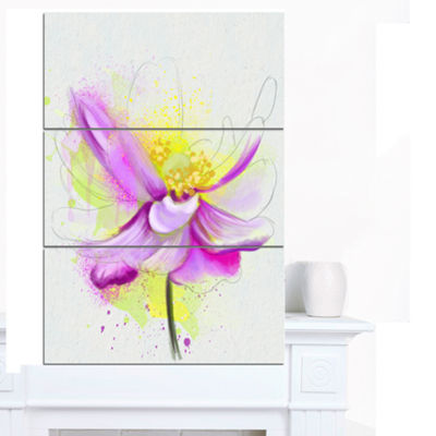 Designart Beautiful Purple Flower With Yellow Flowers Canvas Wall Artwork 3 Panels