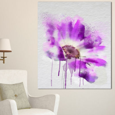 Designart Beautiful Purple Rose Watercolor FloralCanvas Art Print