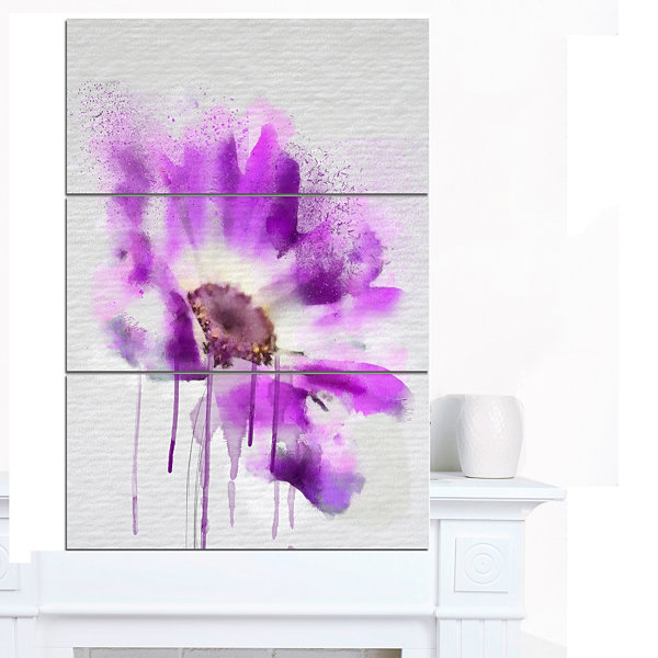 Designart Beautiful Purple Rose Watercolor FloralCanvas Art Print 3 Panels