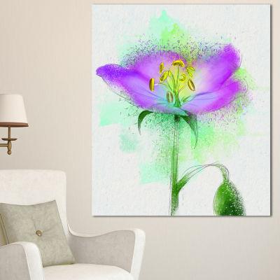 Designart Beautiful Purple Watercolor Flower Floral Canvas Art Print