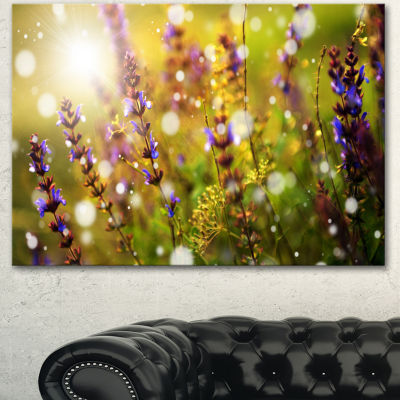 Designart Beautiful Purple Wild Flowers Large Floral Canvas Art Print 3 Panels