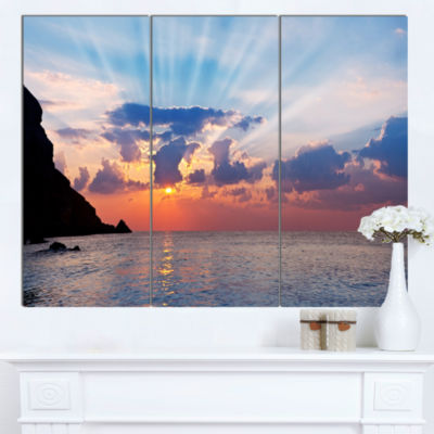 Designart Beautiful Raising Sun And Mountains Large Landscape Canvas Art  3 Panels