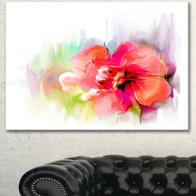 Designart Beautiful Red Floral Watercolor FloralCanvas Art Print