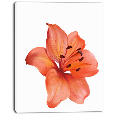 Designart Beautiful Red Lily Watercolor Sketch Flower Artwork On Canvas