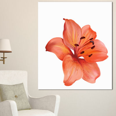 Designart Beautiful Red Lily Watercolor Sketch Flower Artwork On Canvas 3 Panels