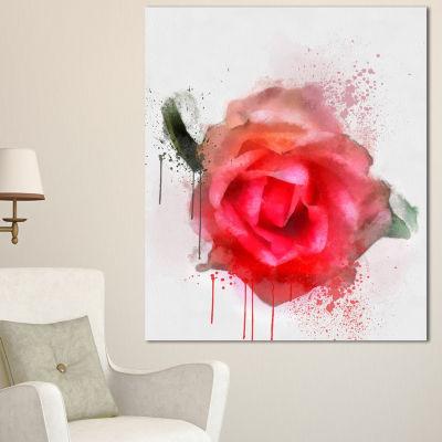 Designart Beautiful Red Rose Watercolor Floral Canvas Art Print