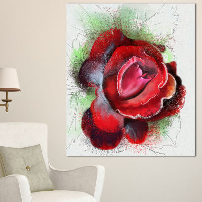Designart Beautiful Red Rose With Green Shade Floral Canvas Art Print