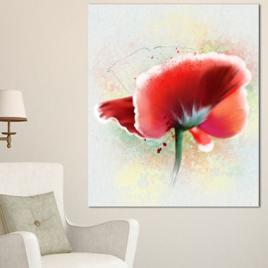 Designart Beautiful Red Watercolor Poppy Flowers Canvas Wall Artwork